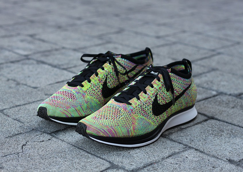 Nike Flyknit Racer Multicolor Turquoise Volt Rose Black Men's Running Shoes