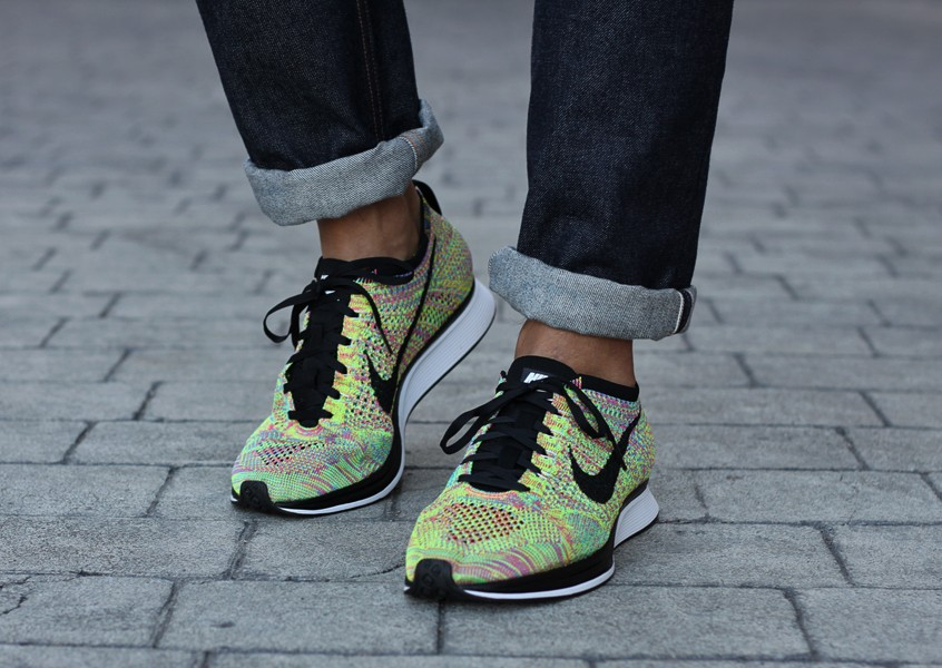 Nike WMNS Flyknit Racer Multicolor Turquoise Volt Rose Black Womens Running Shoes