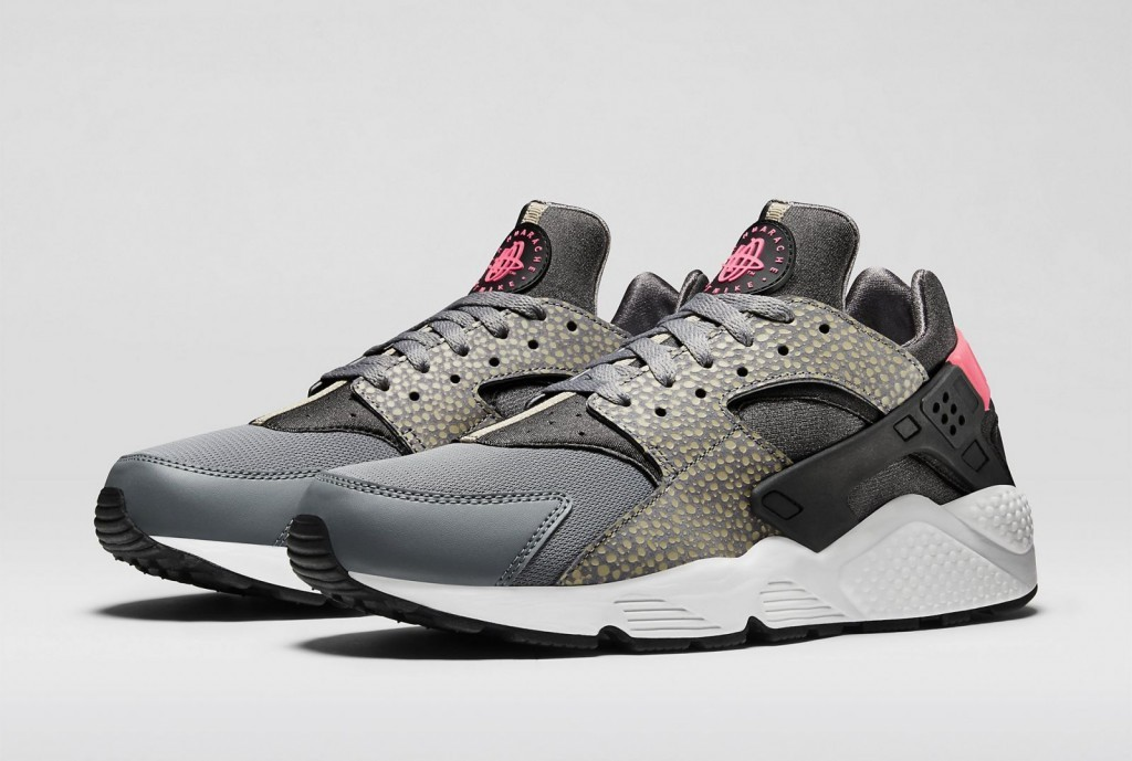 Nike WMNS Air Huarache PRM Bamboo Safari Cool Grey/Black-Medium-Ash-Hyper Punch Womens Shoe