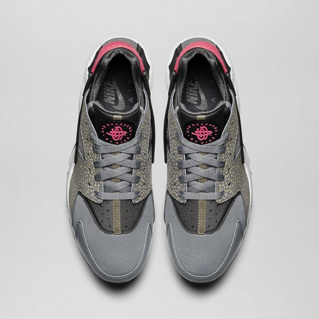 Nike Air Huarache Run (Premium) PRM Bamboo Safari 704830-062 Cool Grey/Black-Medium-Ash-Hyper Punch Mens Shoes