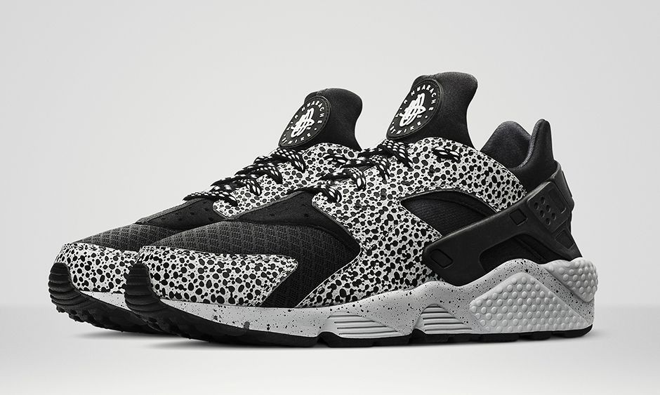 Nike Air Huarache Run Safari Black Grey Platinum Mens Shoes
