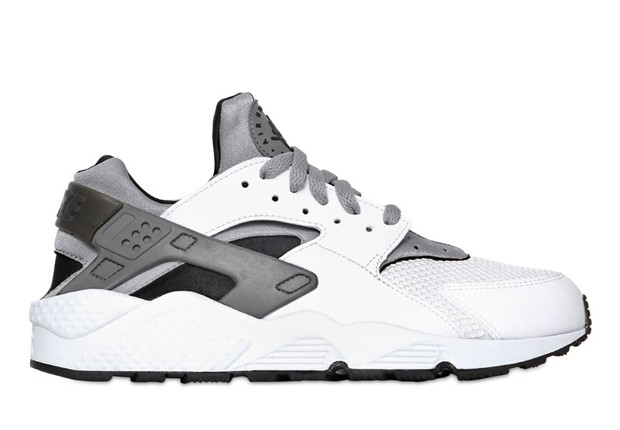 Nike Air Huarache White Metallic Silver Black Mens Shoes