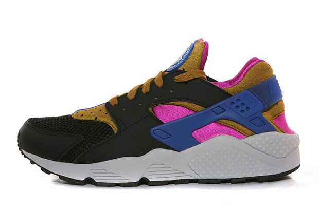 Nike Air Huarache 318429-011 Black Brown Fuchsia Flash Game Royal Men's Shoe