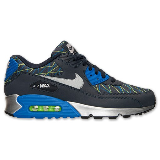 Nike Air Max 90 Premium 700155 443 Dark Obsidian/Hyper Cobalt/Flash Lime Men's Shoe