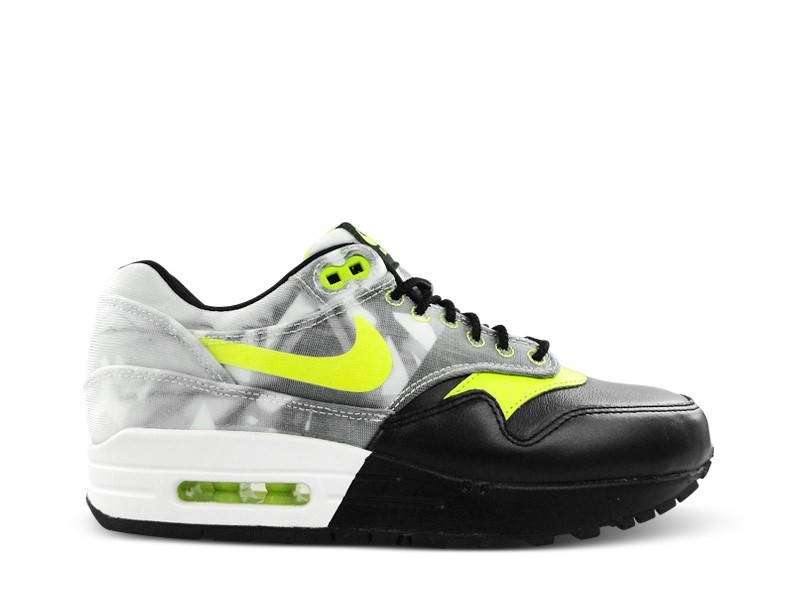 Nike WMNS Air Max 1 Qs Foco Bonito 677340 001 Black/Volt-White Women's Athletic Casual Shoes