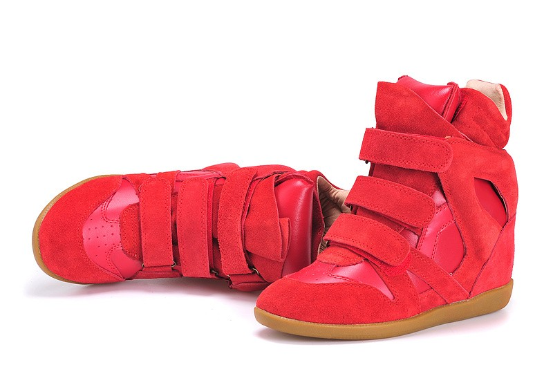 Isabel Marant Red Women's Wedge Sneakers