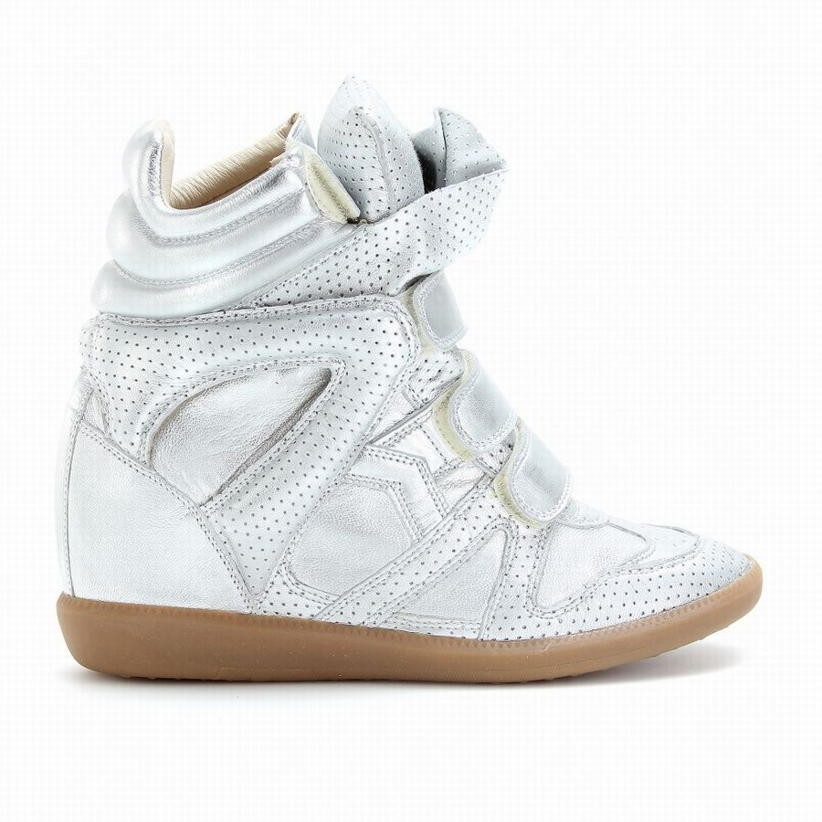 Isabel Marant Bird Metallic Silver Women's Wedge Sneakers