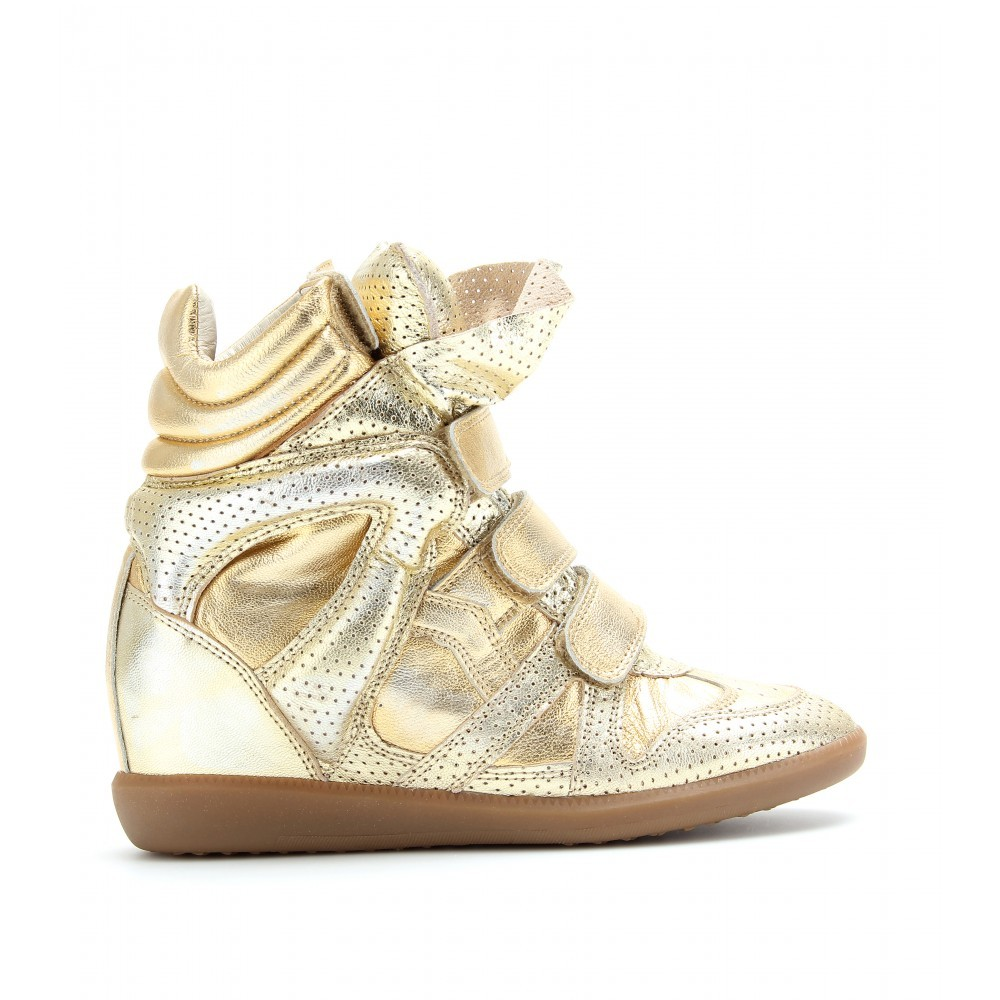 Isabel Marant Bird Metallic Gold Women's Wedge Sneakers