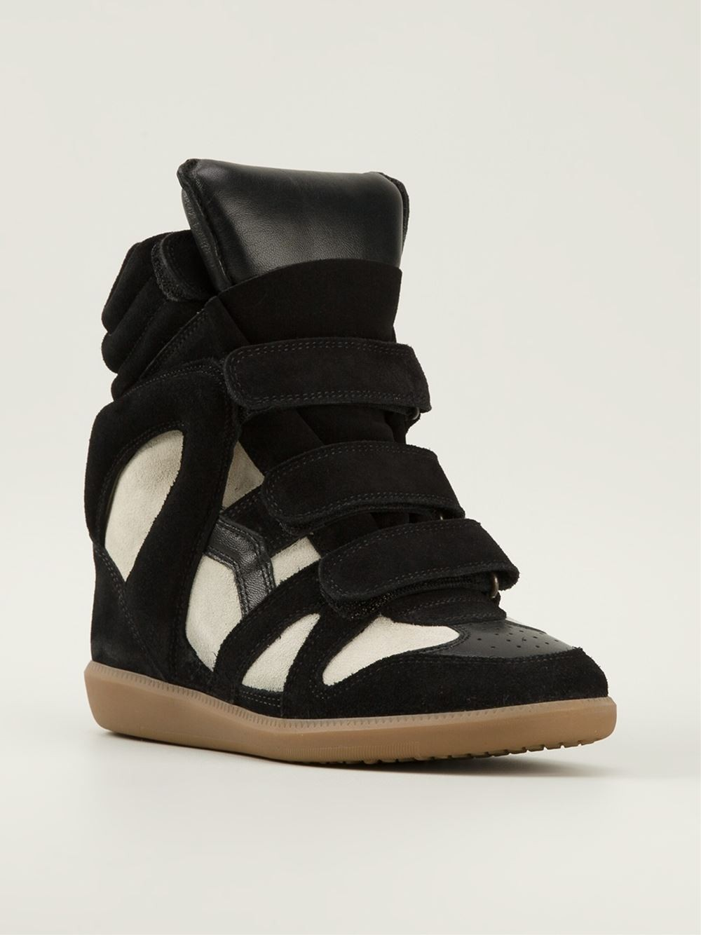 Isabel Marant White Black Women's Wedge Sneakers