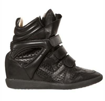 Isabel Marant Leather Black Women's Wedge Sneakers