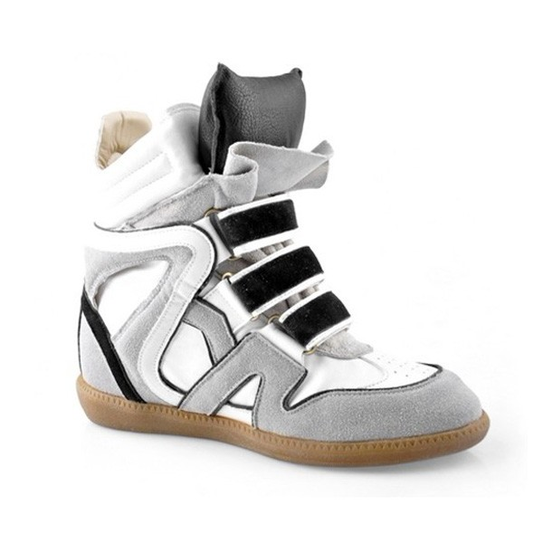 Isabel Marant Black Grey White Women's Wedge Sneakers
