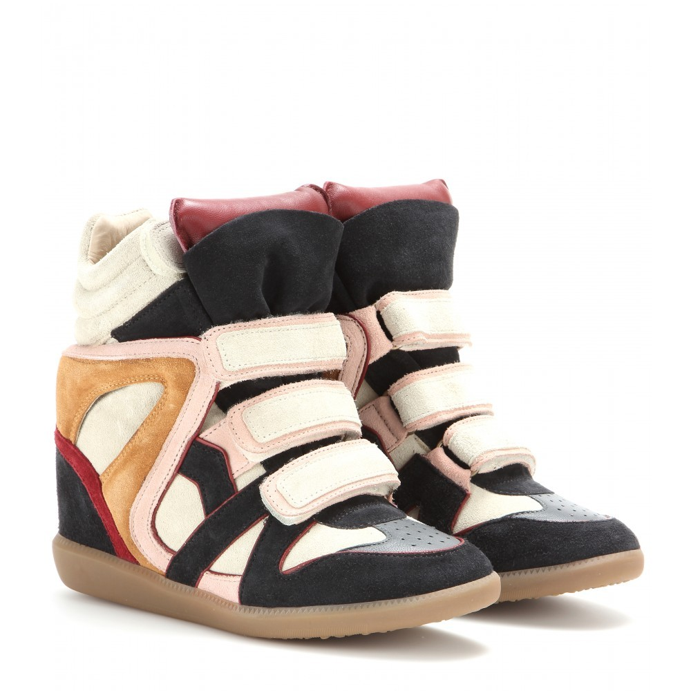 Isabel Marant Wila Suede Red Women's Wedge Sneakers