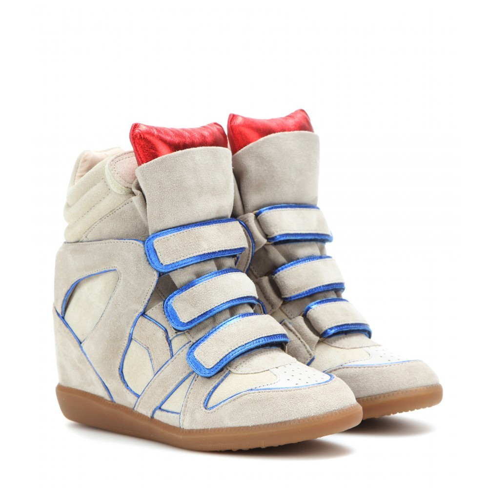 Isabel Marant Wila Suede Blue Women's Wedge Sneakers