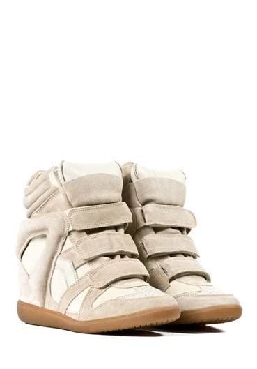 Isabel Marant Etoile Leather Bekett Beige Women's Wedge Sneakers