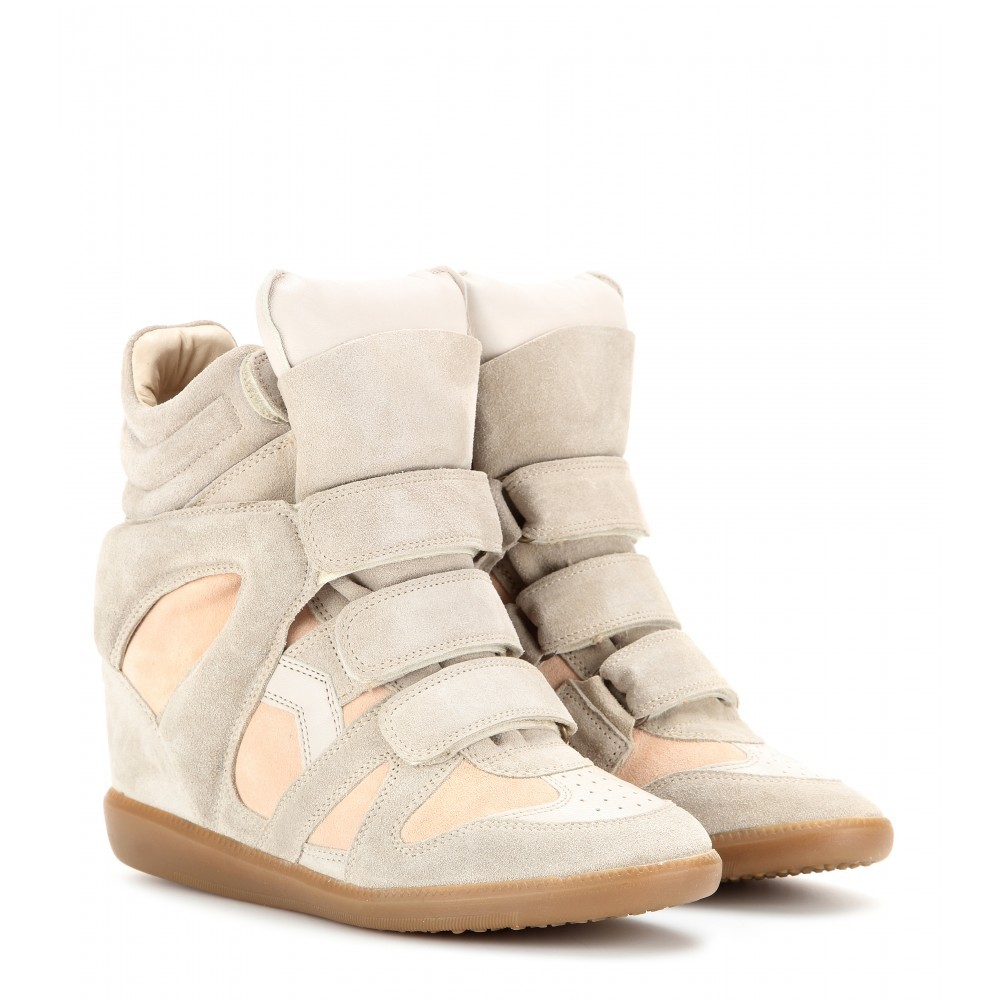 Isabel Marant Bekett Leather and Suede Beige Women's Wedge Sneakers