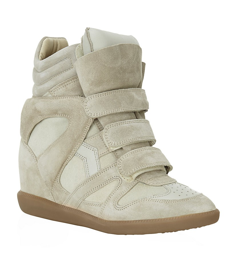 Isabel Marant Bekett Suede Beige Women's Wedge Sneakers