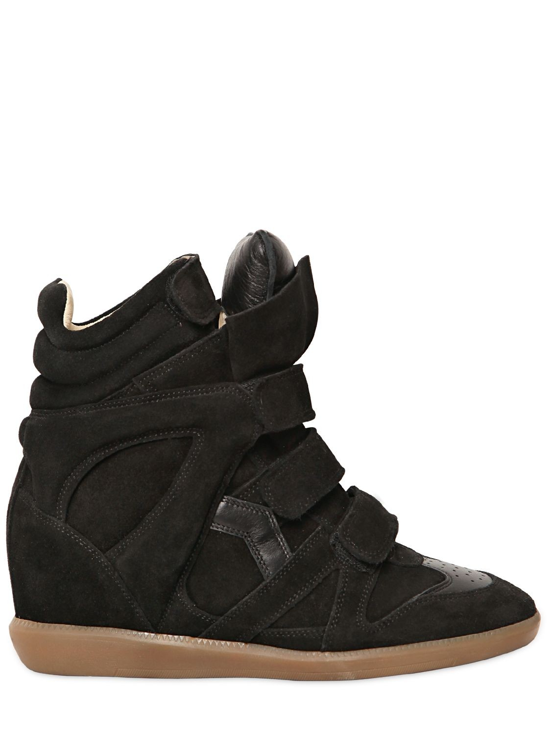 Isabel Marant Etoile 80mm Bekett Suede Black Women's Wedge Sneakers