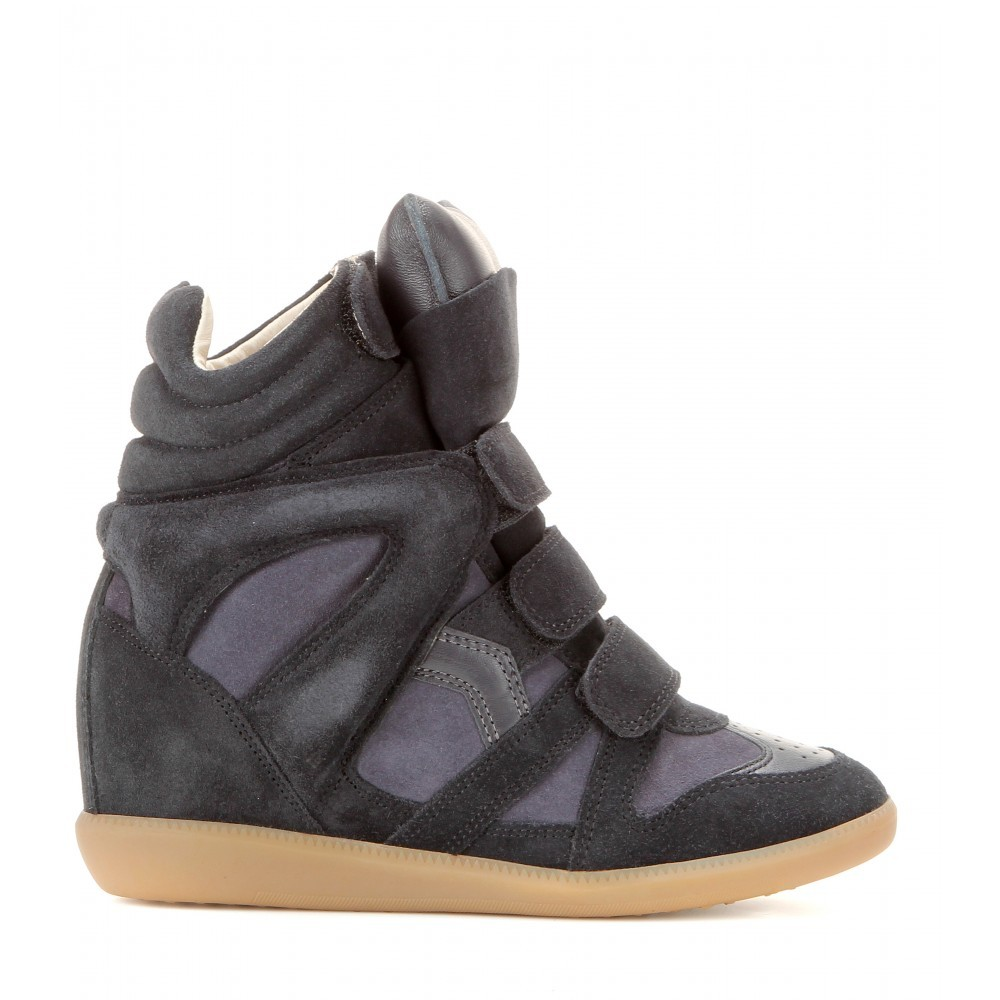 Isabel Marant Bekett Leather and Suede Gray Women's Wedge Sneakers