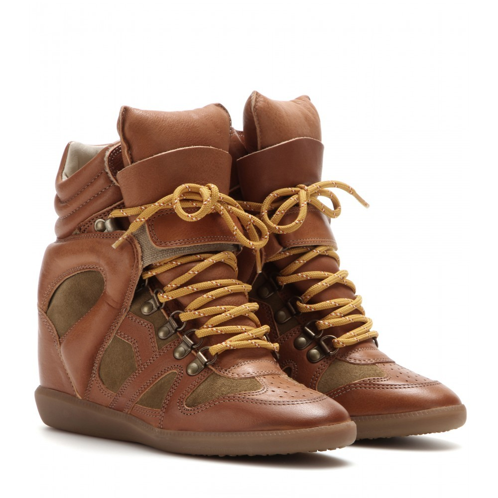Isabel Marant Buck Leather and Suede Brown Women's Wedge Sneakers