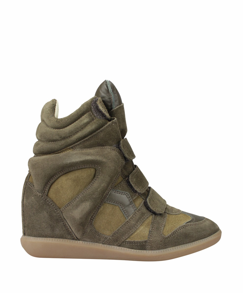 Isabel Marant Bekett Suede Green Women's Wedge Sneakers
