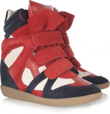 Isabel Marant Red Navy Blue White Women's Wedge Sneakers
