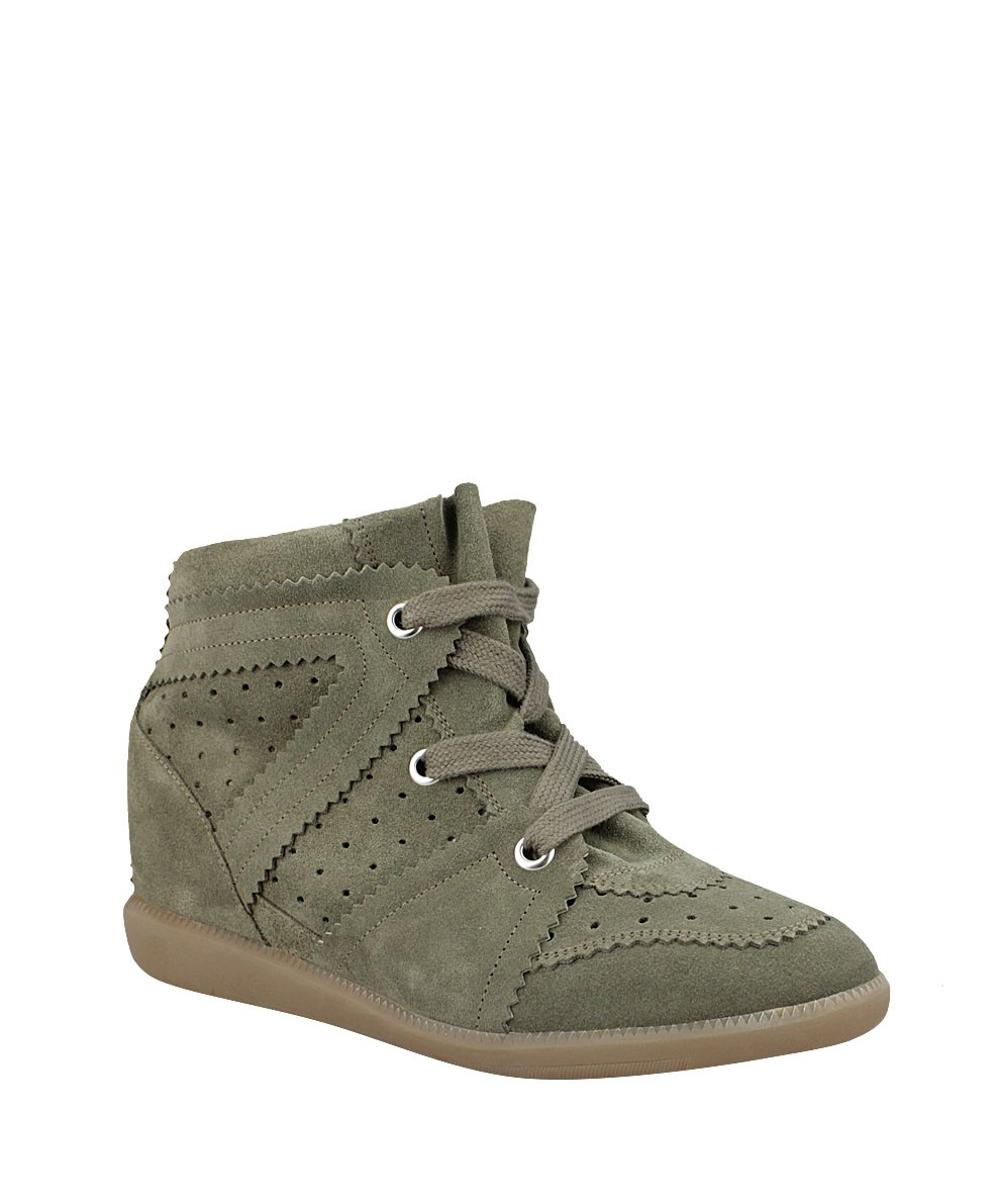 Isabel Marant Bobby Suede Green Women's Wedge Sneakers