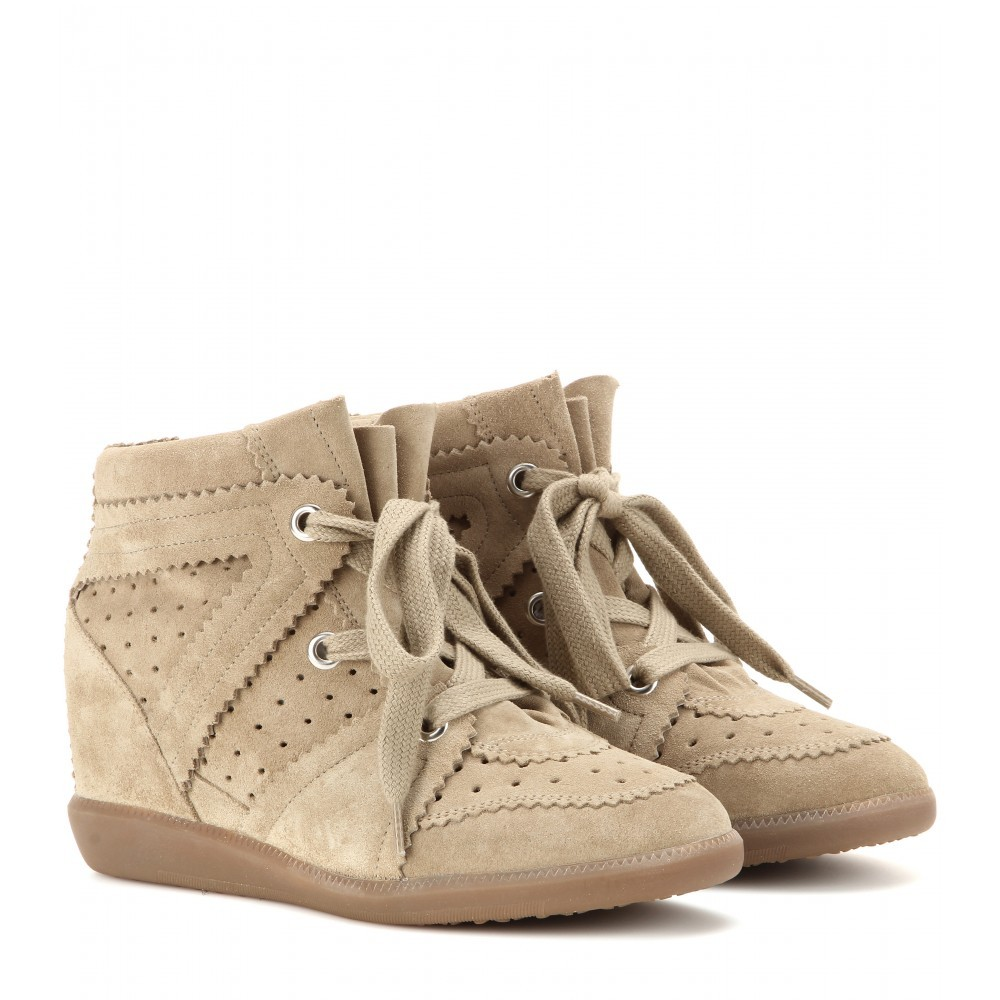 Isabel Marant Bobby Suede Beige Women's Wedge Sneakers