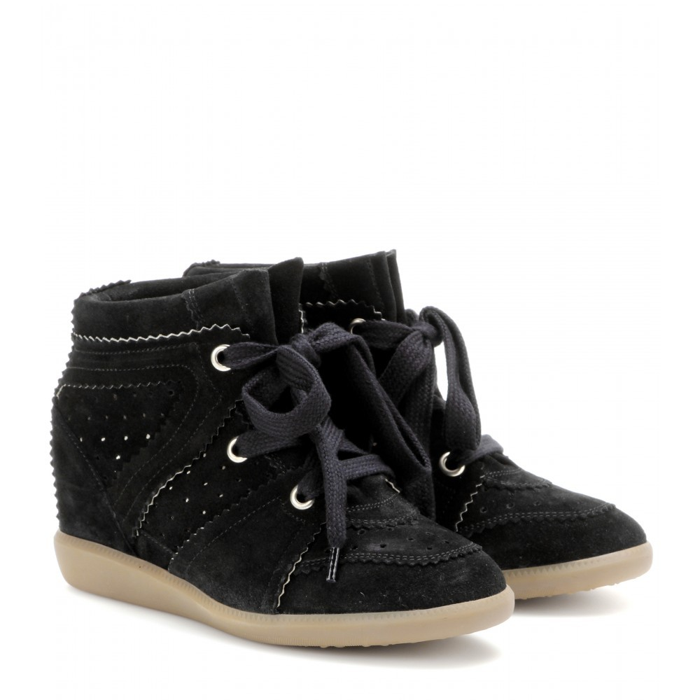 Isabel Marant Bobby Suede Black Women's Wedge Sneakers