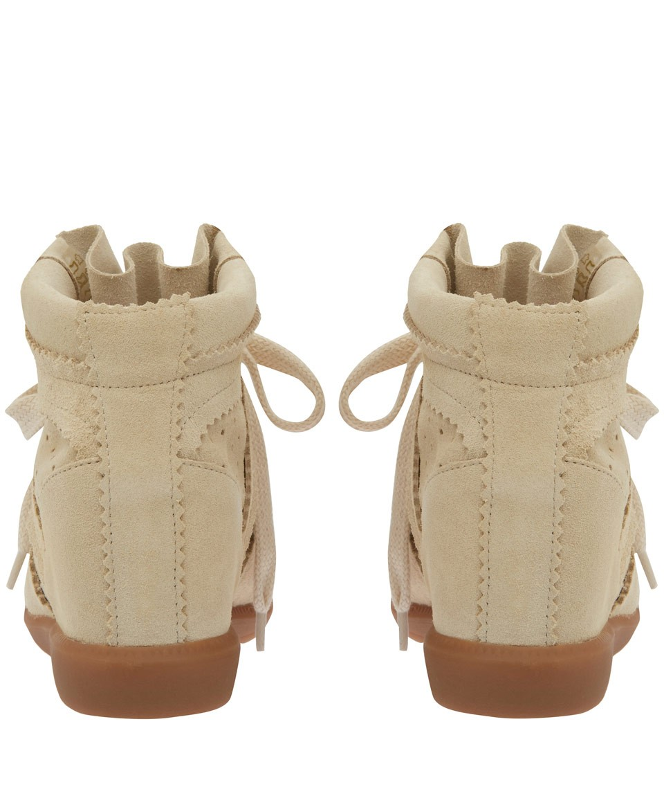 Isabel Marant Bobby Suede Ivory White Women's Wedge Sneakers