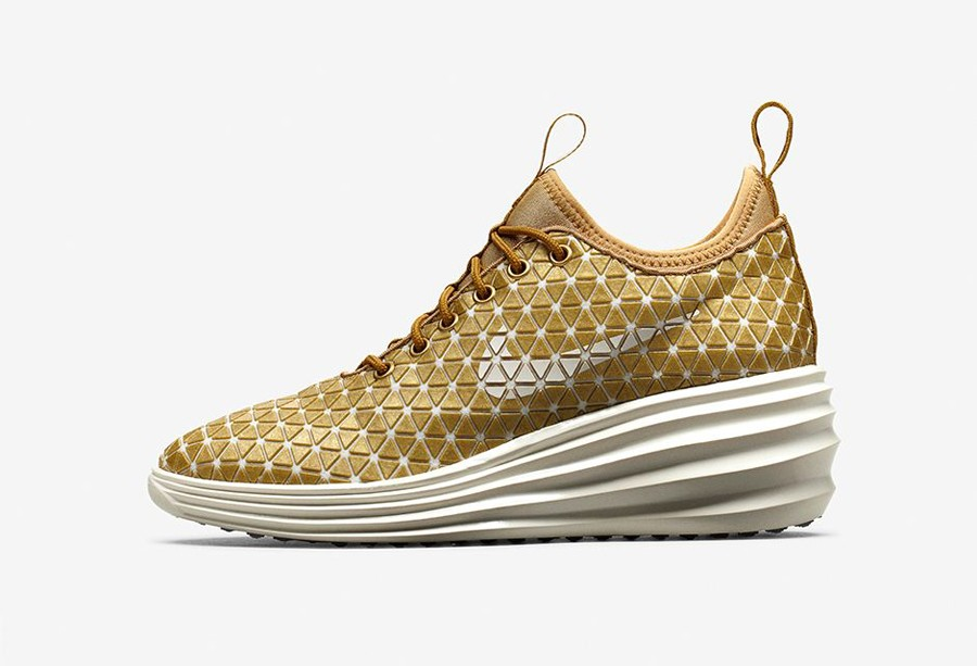 Nike WMNS Lunarelite Sky Hi QS FW London 652902-700 Metallic Gold Sail Women's Lace Up sneakers
