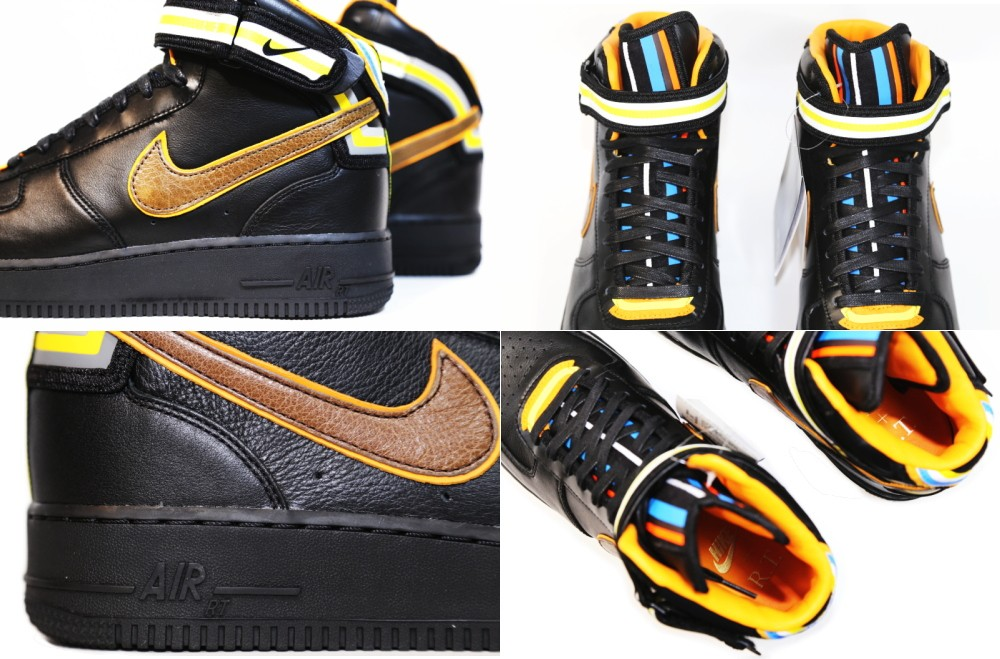 Nike Air Force 1 Mid Supreme X Riccardo Tisci 677803-020 Black Baroque Brown Leather Sneakers