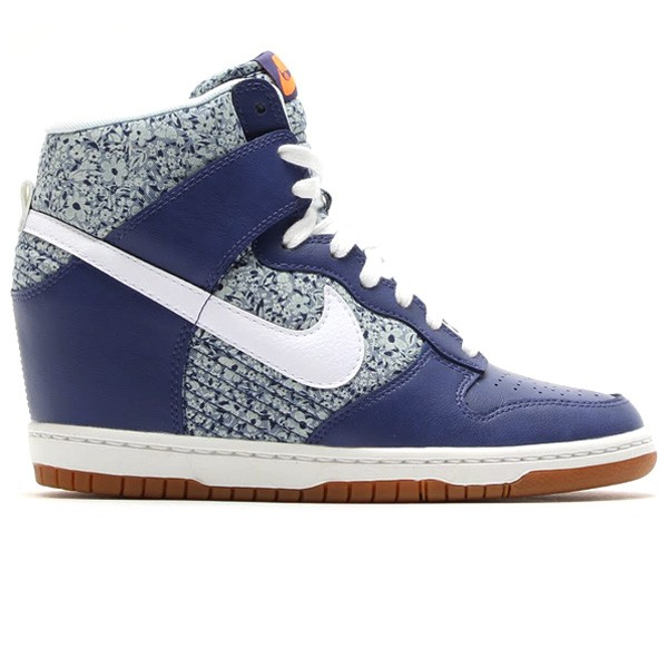 Nike WMNS Dunk Sky Hi Liberty (of London) Floral Print 529040-400 Blue Recall White Linen Women's Hidden Wedge Sneaker Shoe