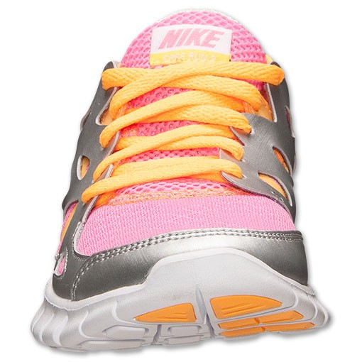 Nike WMNS Free Run 2.0 GS Pink Glow/Atomic Mango/Metallic Silver Womens Running Shoes