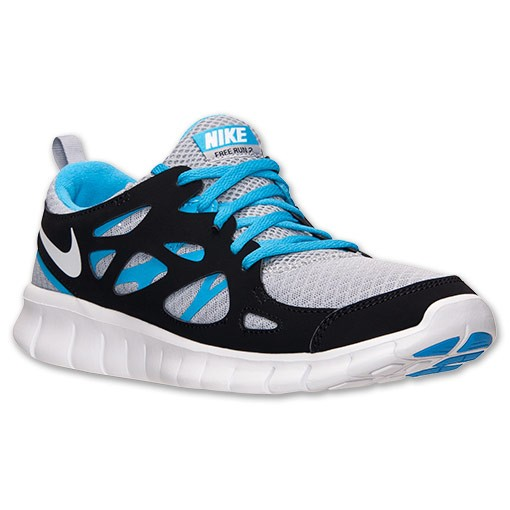 Nike Free Run 2 Wolf Grey/White/Black/Vivid Blue Mens Running Shoes
