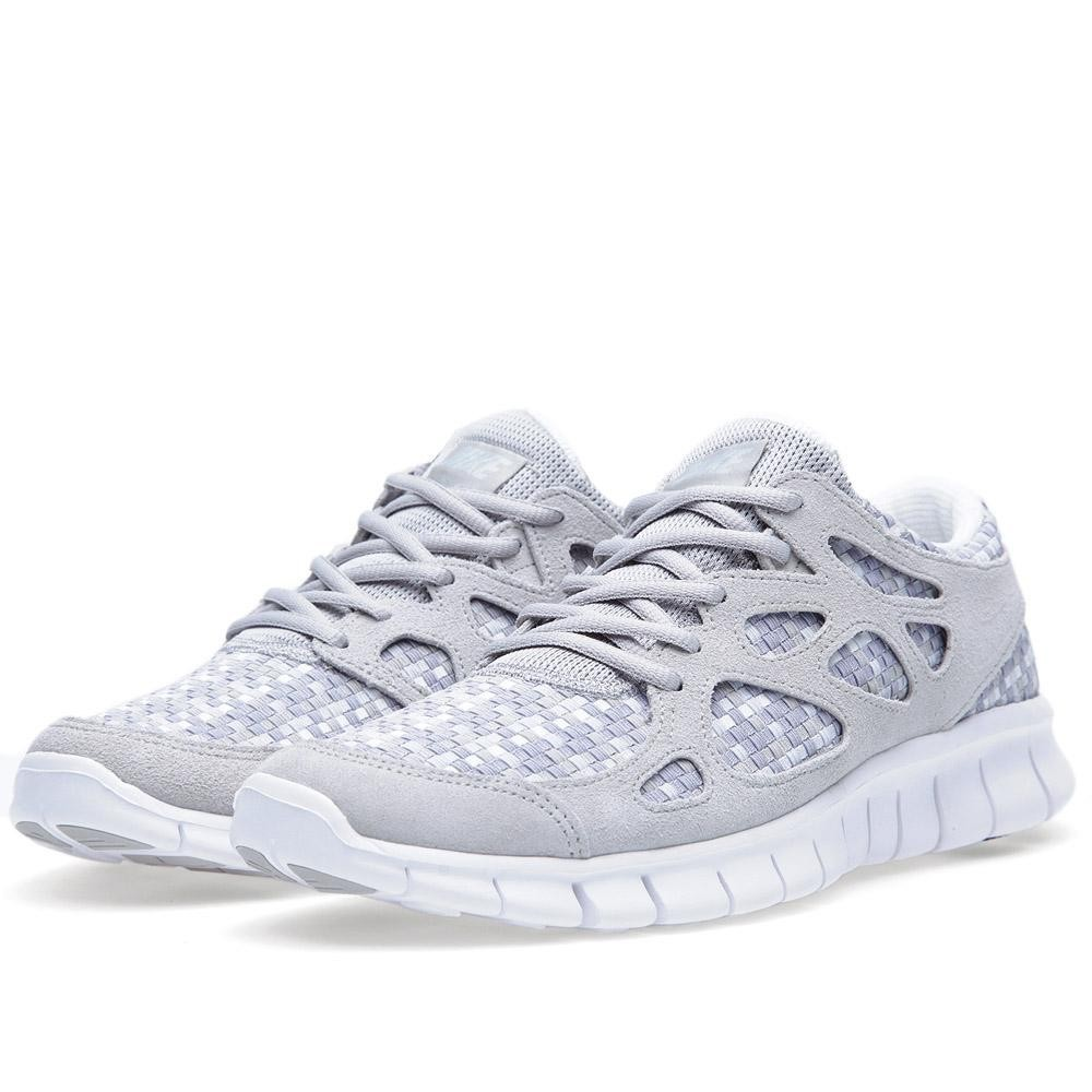 Nike Free Run+ 2 Woven 573920-001 Pure Platinum/Granite Mens Running Shoes