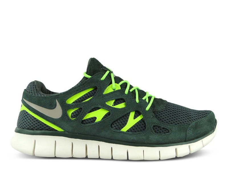 Nike Free Run 2+ 537732 303 Vintage Green/Grey-Flash Lime Mens Running Shoes