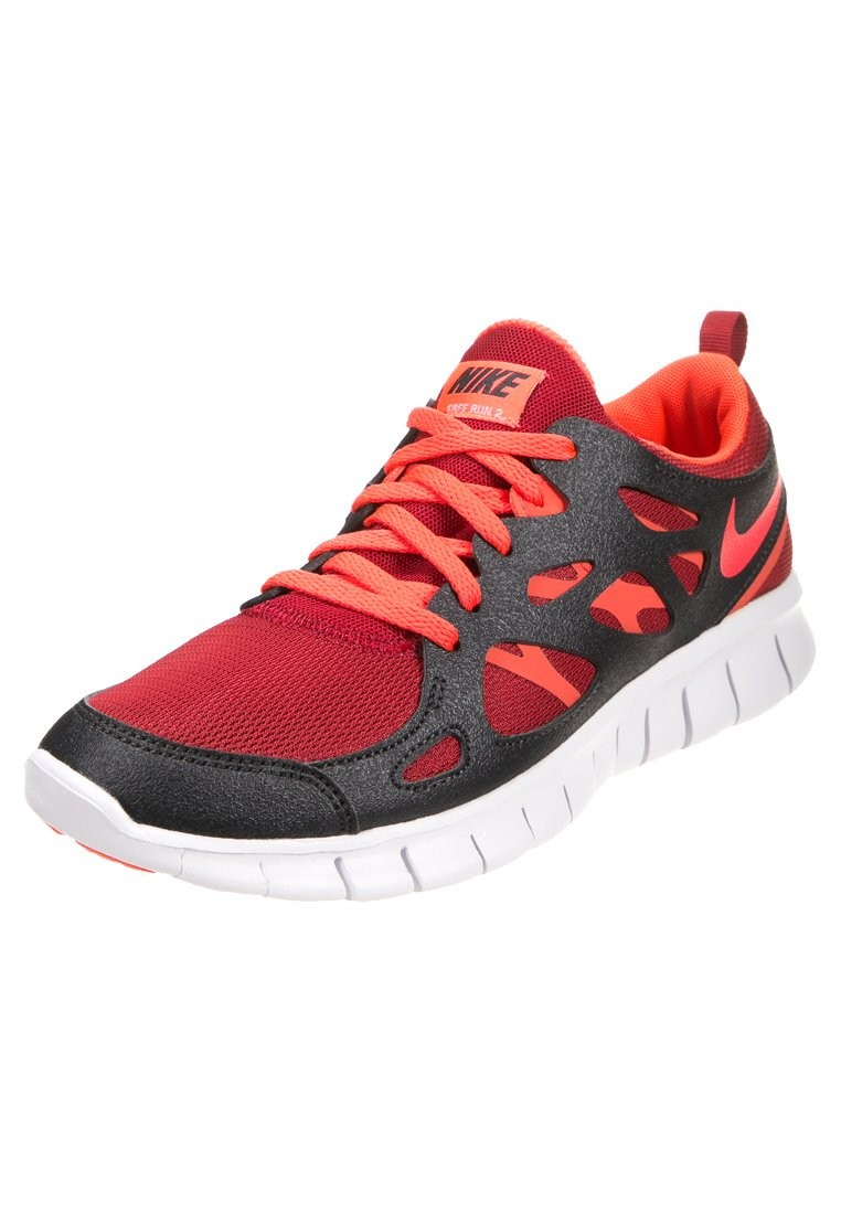 Nike Free Run 2+ Gym Red Bright Crimson Anthracite White Mens Running Shoes