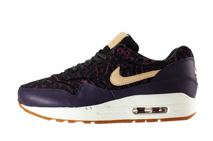 Nike WMNS Air Max 1 Premium Curtains Pack Purple Dynasty Linnen Black Womens Running Shoes