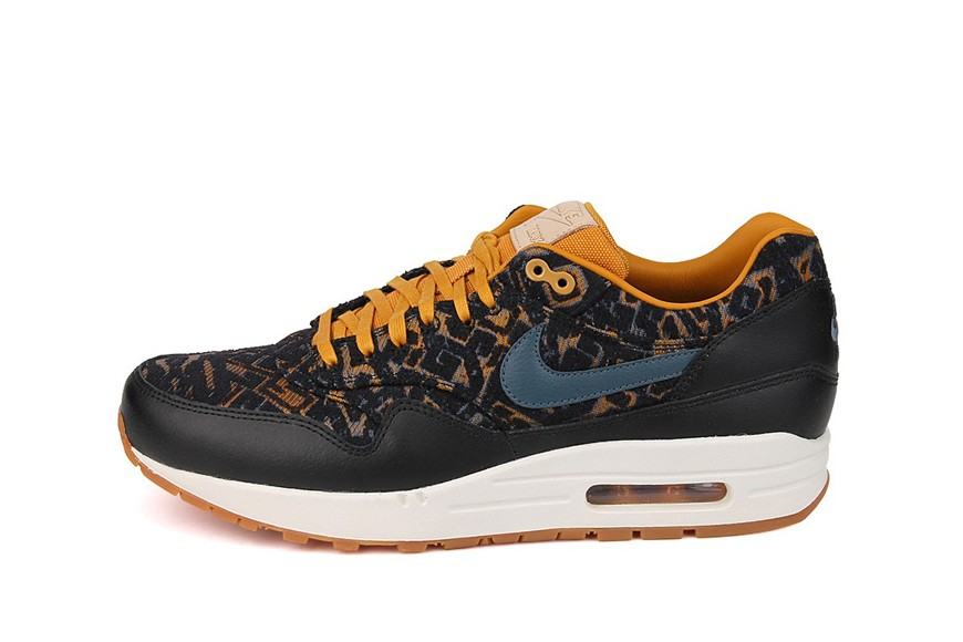 Nike WMNS Air Max 1 Premium Curtains Pack 2 Black Gold Womens Casual Shoes