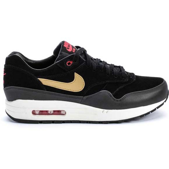 Nike Air Max 1 Premium Metallic Gold Hyper Red Black Men's Casual Running Shoe