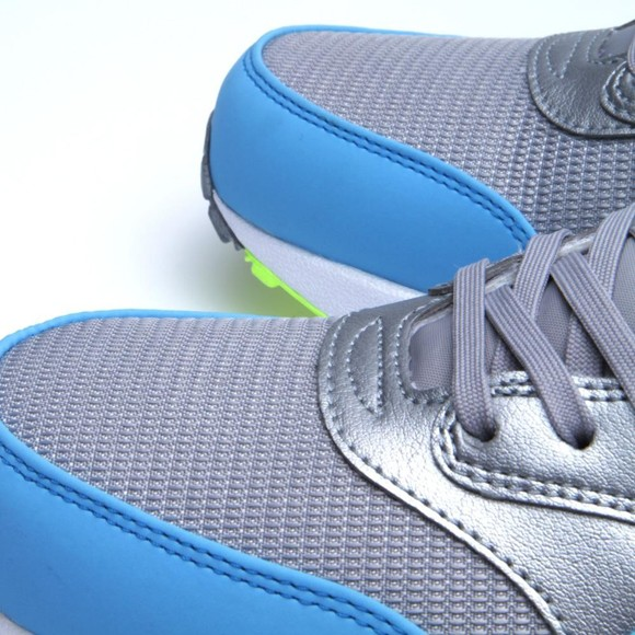 Nike Air Max 1 FB Metallic Silver Current Blue Men's Casual Running Shoe