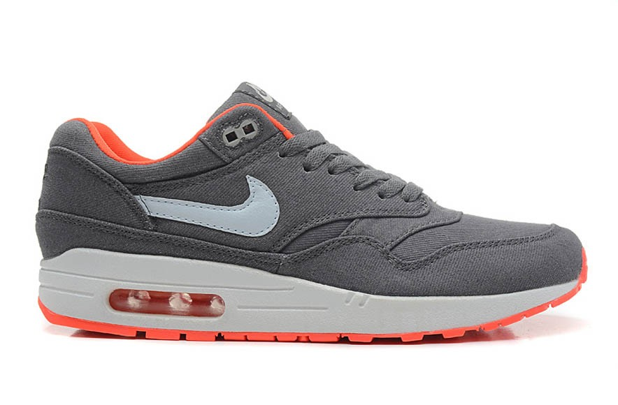 Nike Air Max 1 Premium Denim Total Crimson Cool Grey White Men's Casual Running Shoe