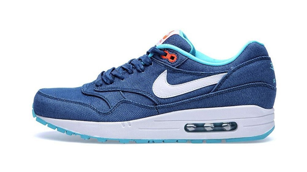 Nike Air Max 1 Premium Denim Pack Turquoise White Men's Casual Running Shoe