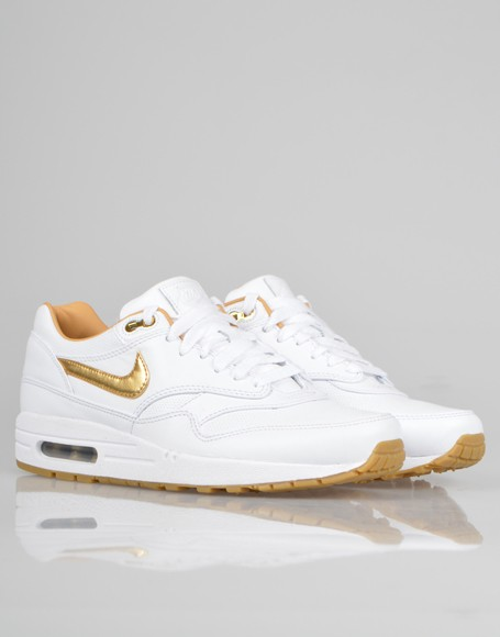 Price $71 Nike Air Max 1 FB Woven Gold White Men's Casual
