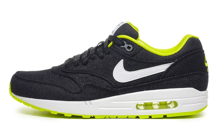 Nike Air Max 1 Premium Denim White Cyber Black Mens Running Shoes