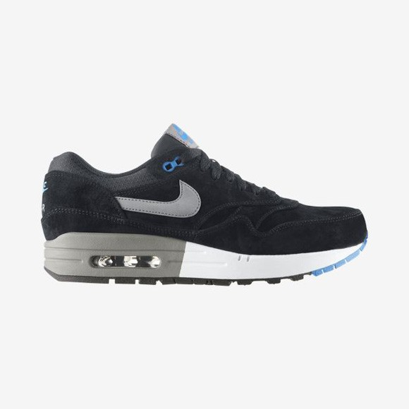 Nike Air Max 1 Premium Suede Black Cool Grey Photo Blue Men's Casual Running Shoe