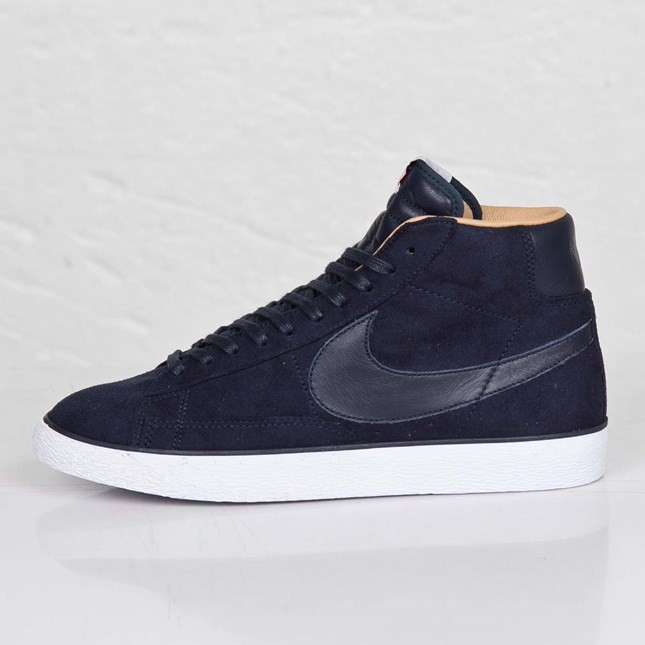 Nike Blazer High Sp Tonal Suede Pack 709659-441 Dark Obsidian White Beige Mens Laced Trainers