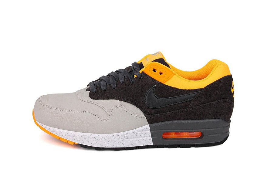 Nike Air Max 1 Premium Pale Gray Dark Charcoal Orange Men's Casual Running Shoe