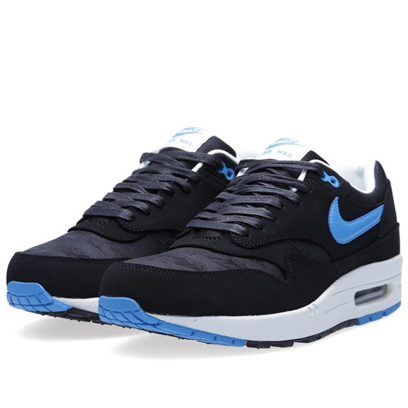 Nike Air Max 1 Premium Black And Blue Camouflage Men's Casual Running Shoe