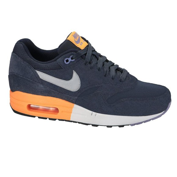 Nike Air Max 1 Premium Suede Dark Obsidian Metallic Grey Atomic Orange Men's Casual Running Shoe